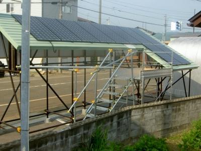 太陽光発電屋外ショールーム(駐車場側より)