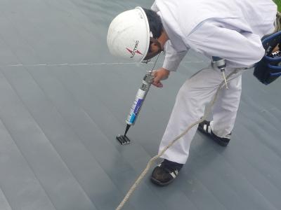 太陽光発電設置工事~防水処理状況