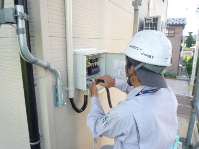 太陽光発電設置工事~接続箱取付状況